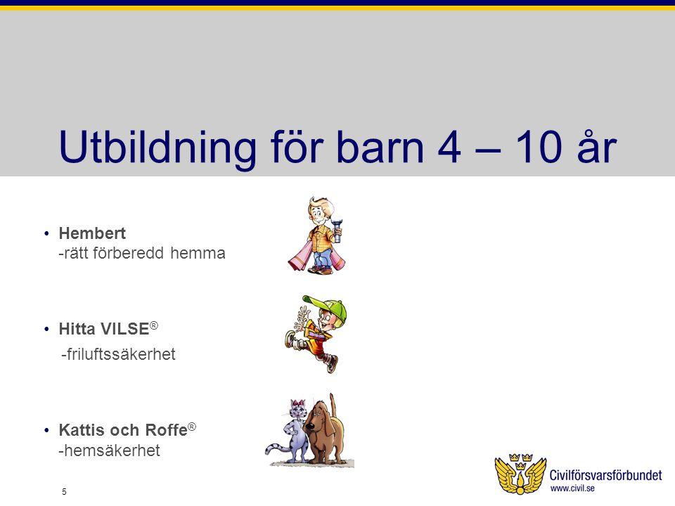 Utbildning för barn 4 – 10 år Hembert -rätt förberedd hemma Hitta VILSE ® -friluftssäkerhet Kattis och Roffe ® -hemsäkerhet 5