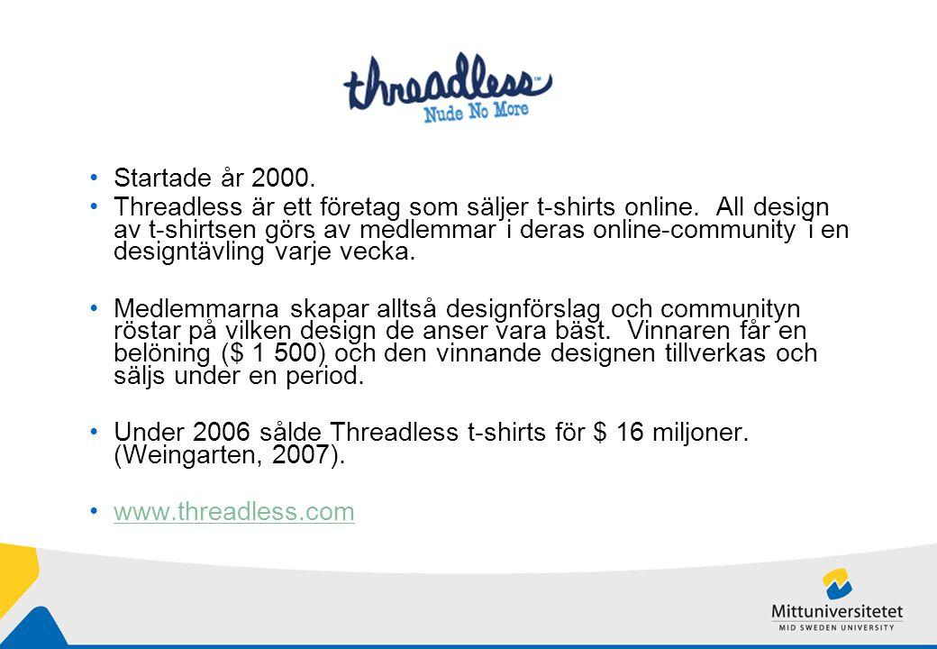 Startade år 2000. Threadless är ett företag som säljer t-shirts online.