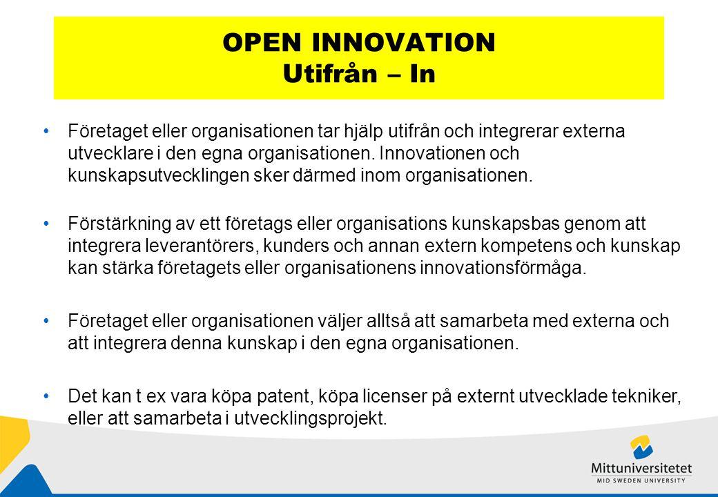OPEN INNOVATION Utifrån – In Företaget eller organisationen tar hjälp utifrån och integrerar externa utvecklare i den egna organisationen.