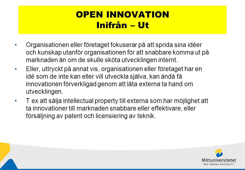OPEN INNOVATION Inifrån – Ut Organisationen eller företaget fokuserar på att sprida sina idéer och kunskap utanför organisationen för att snabbare komma ut på marknaden än om de skulle sköta utvecklingen internt.