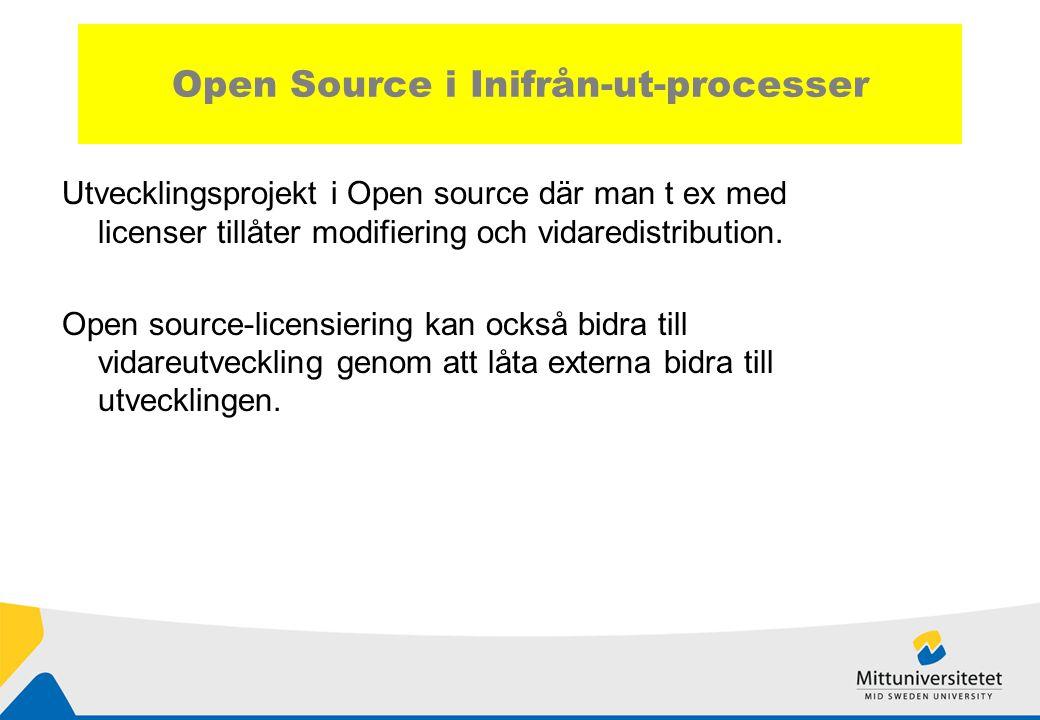 Open Source i Inifrån-ut-processer Utvecklingsprojekt i Open source där man t ex med licenser tillåter modifiering och vidaredistribution.