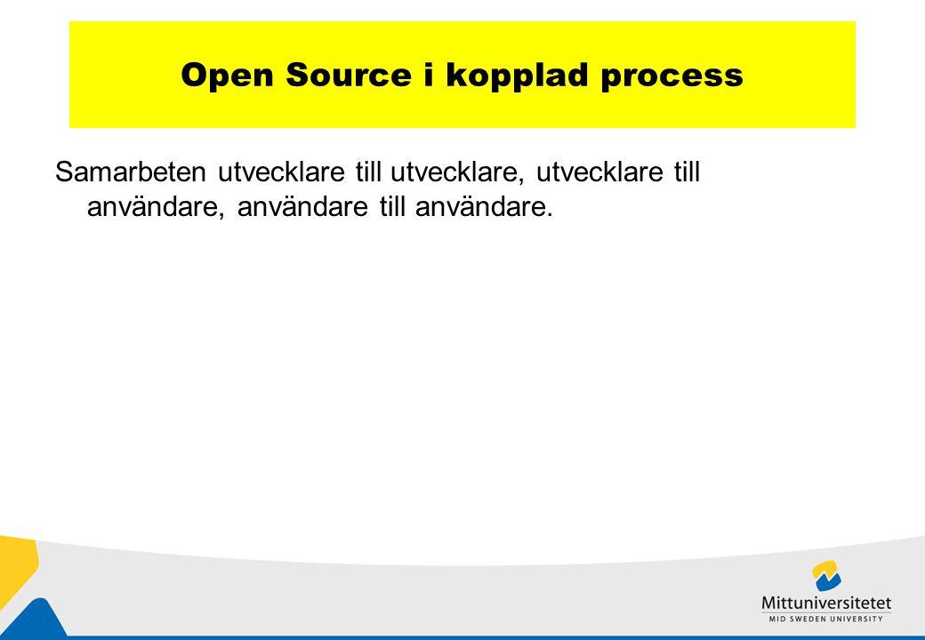 Open Source i kopplad process Samarbeten utvecklare till utvecklare, utvecklare till användare, användare till användare.