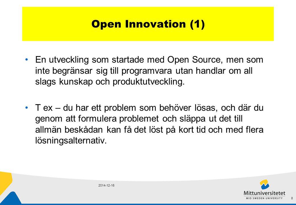 Open Innovation (1) En utveckling som startade med Open Source, men som inte begränsar sig till programvara utan handlar om all slags kunskap och produktutveckling.