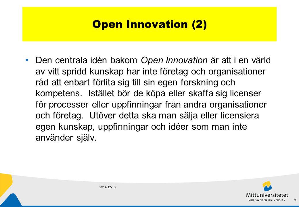 Open Innovation (2) Den centrala idén bakom Open Innovation är att i en värld av vitt spridd kunskap har inte företag och organisationer råd att enbart förlita sig till sin egen forskning och kompetens.