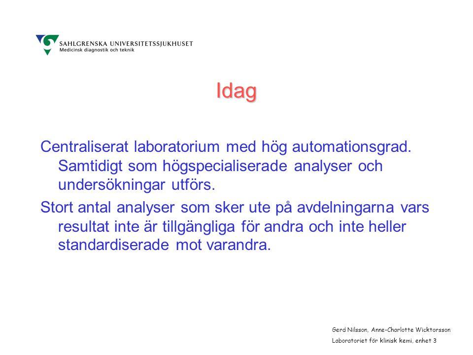 Idag Centraliserat laboratorium med hög automationsgrad.