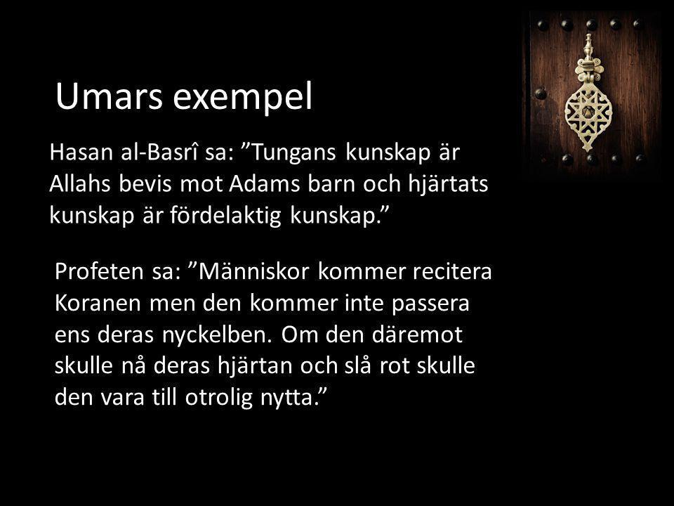 """Umars exempel Hasan al-Basrî sa: """"Tungans kunskap är Allahs bevis mot Adams barn och hjärtats kunskap är fördelaktig kunskap."""" Profeten sa: """"Människor"""