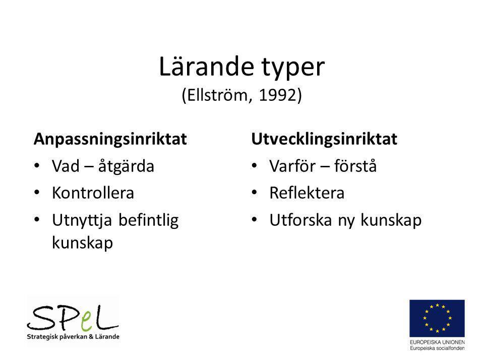 Lärande typer (Ellström, 1992) Anpassningsinriktat Vad – åtgärda Kontrollera Utnyttja befintlig kunskap Utvecklingsinriktat Varför – förstå Reflektera