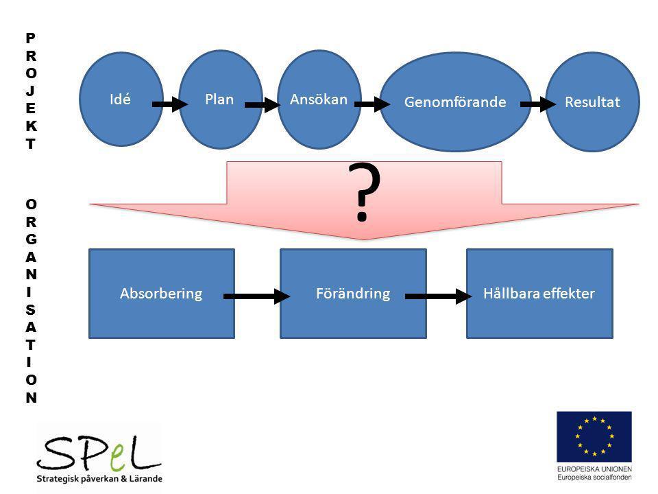 Idé AnsökanPlan GenomförandeResultat PROJEKTPROJEKT ORGANISATIONORGANISATION AbsorberingFörändringHållbara effekter ? ?