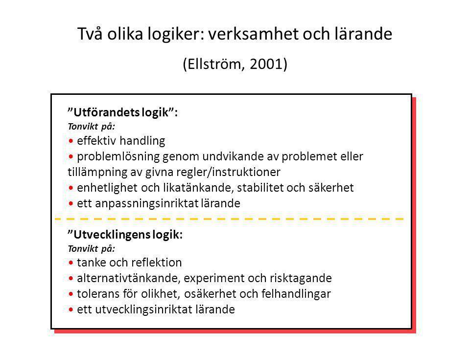 """""""Utförandets logik"""": Tonvikt på: effektiv handling problemlösning genom undvikande av problemet eller tillämpning av givna regler/instruktioner enhetl"""