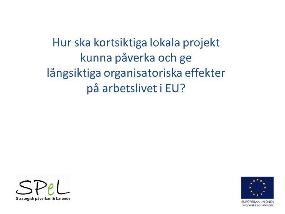 Problem/ Möjlighet Innovativ idé Projekt Regionala planer (RUP) ESF/ Programmål Arbetslivsutveckling i EU (t.ex.