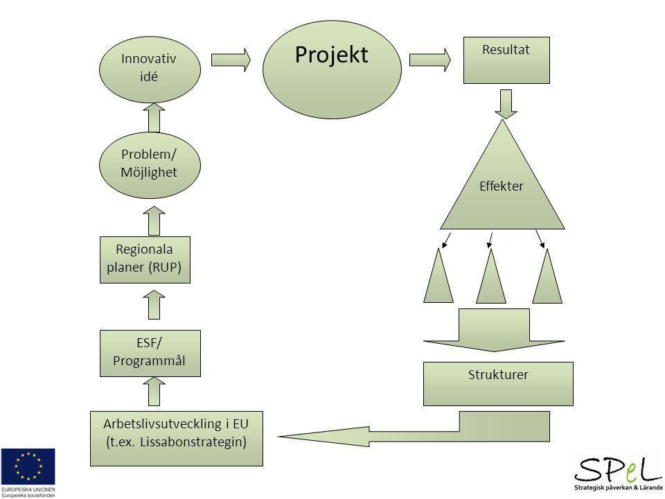 Strategisk checklista 1.Identifiera vad som är unikt/nytt i ert projekt 2.Lista vilka aktörer som kan påverkas av era resultat 3.Prioritera de viktigaste aktörerna att nå för att få långsiktiga effekter 4.Granska och stärk deras grad av aktiva delaktighet i projektet