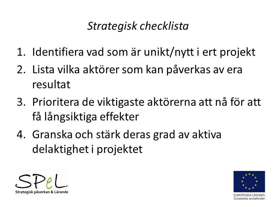 Strategisk checklista 1.Identifiera vad som är unikt/nytt i ert projekt 2.Lista vilka aktörer som kan påverkas av era resultat 3.Prioritera de viktiga