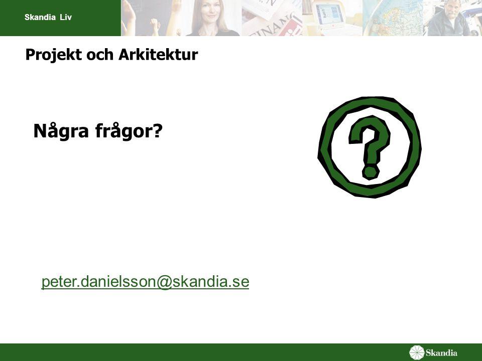 Skandia Liv Projekt och Arkitektur Några frågor? peter.danielsson@skandia.se