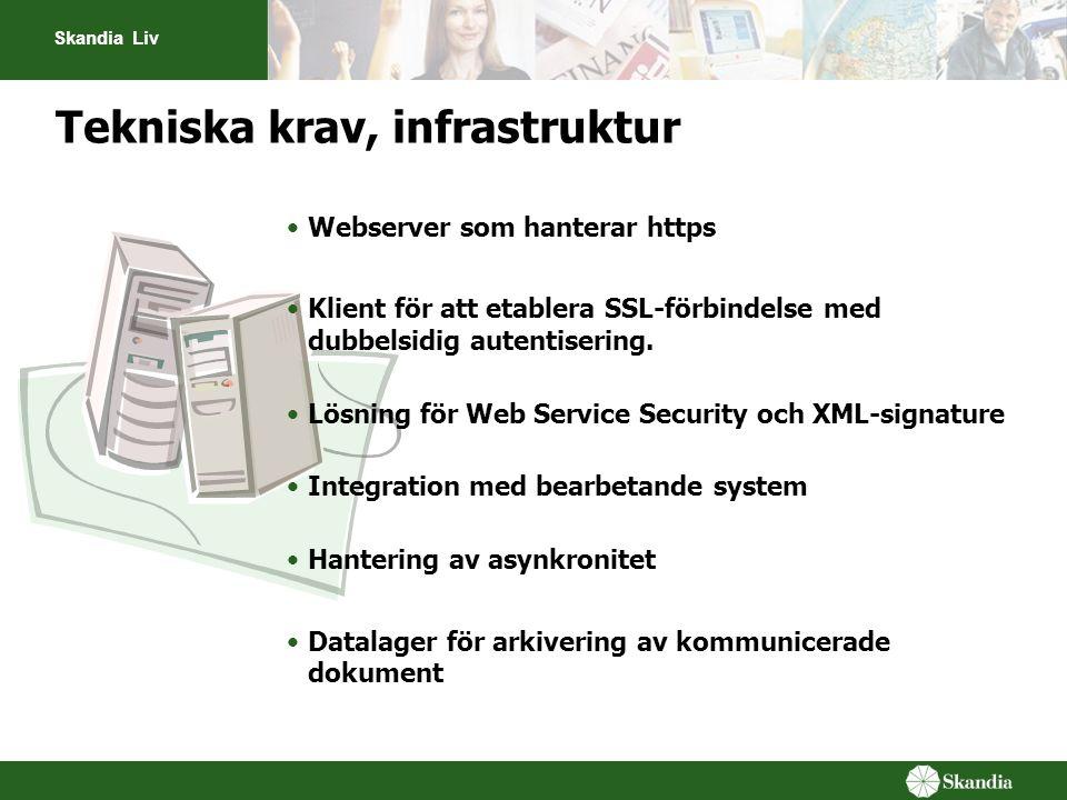 Skandia Liv Tekniska krav, infrastruktur Webserver som hanterar https Klient för att etablera SSL-förbindelse med dubbelsidig autentisering. Lösning f