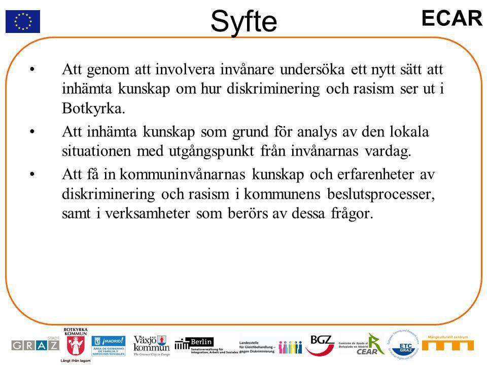 ECAR Syfte Att genom att involvera invånare undersöka ett nytt sätt att inhämta kunskap om hur diskriminering och rasism ser ut i Botkyrka.