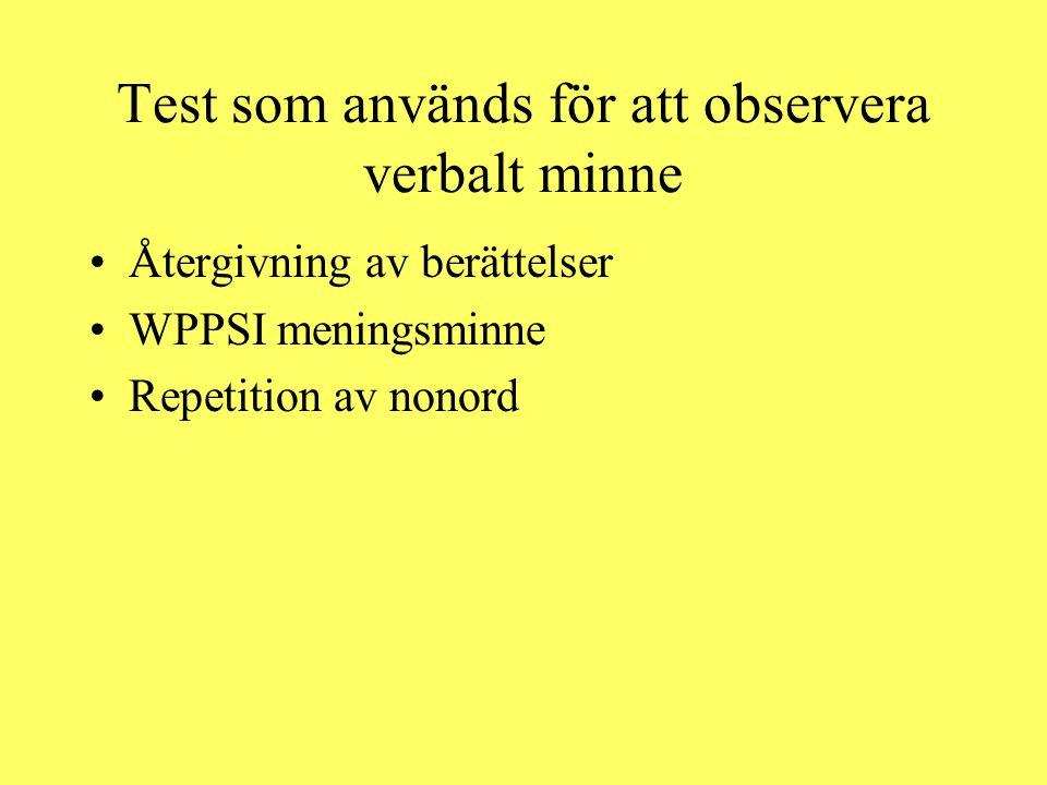 Test som används för att observera verbalt minne Återgivning av berättelser WPPSI meningsminne Repetition av nonord