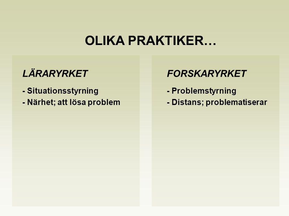 LÄRARYRKETFORSKARYRKET - Situationsstyrning- Problemstyrning - Närhet; att lösa problem- Distans; problematiserar OLIKA PRAKTIKER…