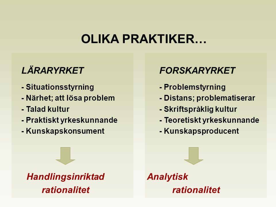 LÄRARYRKETFORSKARYRKET - Situationsstyrning- Problemstyrning - Närhet; att lösa problem- Distans; problematiserar - Talad kultur- Skriftspråklig kultu