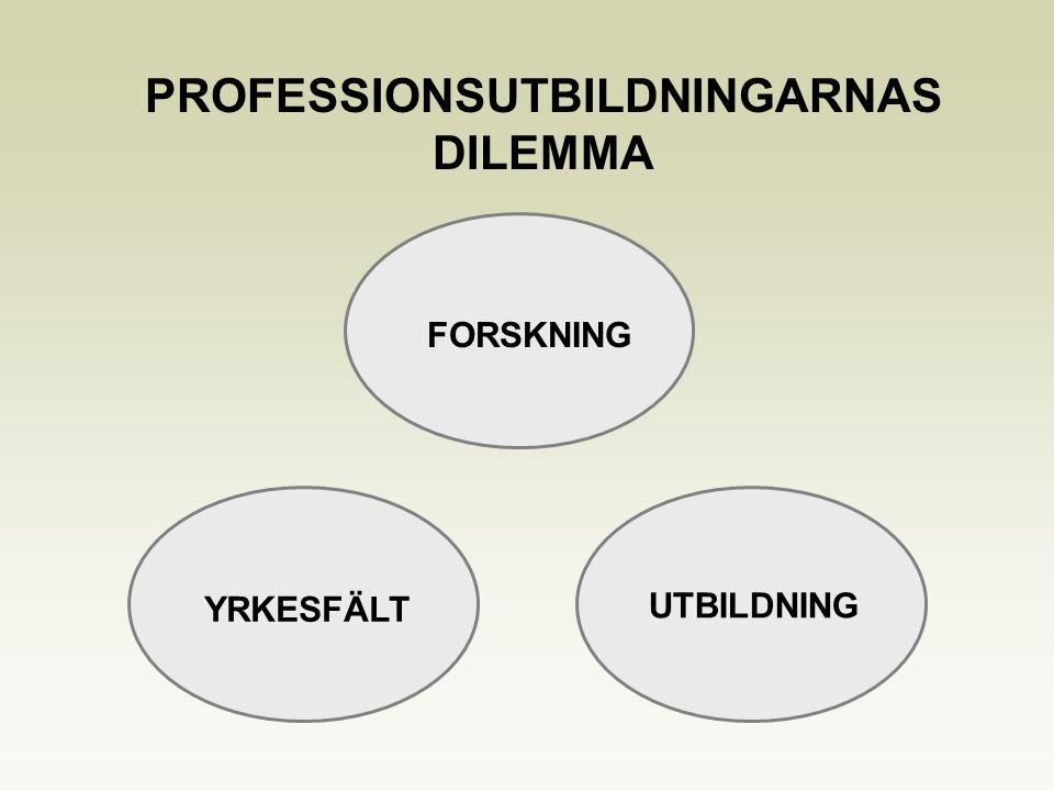 YRKESFÄLT UTBILDNING PROFESSIONSUTBILDNINGARNAS DILEMMA FORSKNING