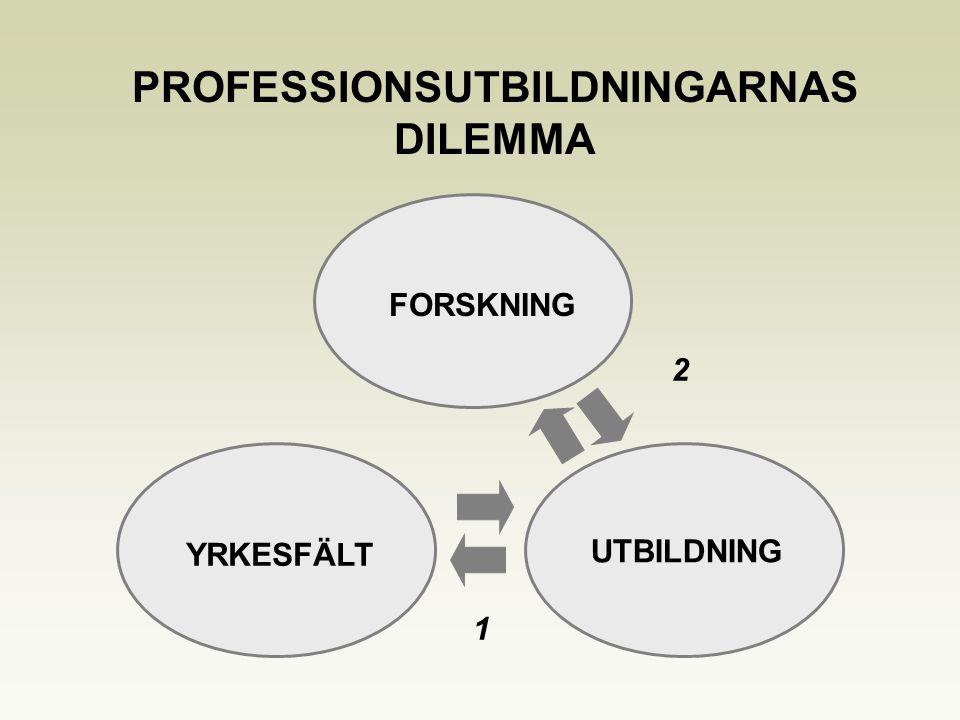 YRKESFÄLT UTBILDNING PROFESSIONSUTBILDNINGARNAS DILEMMA FORSKNING 2 1