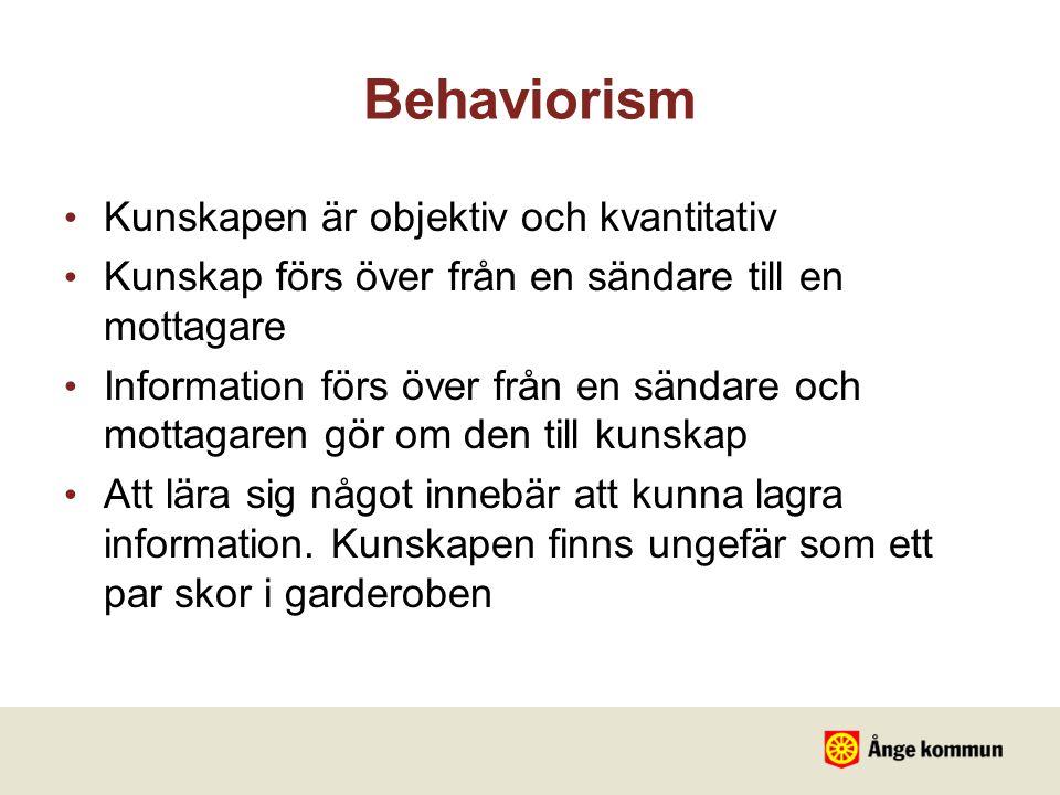 Behaviorism Kunskapen är objektiv och kvantitativ Kunskap förs över från en sändare till en mottagare Information förs över från en sändare och mottag