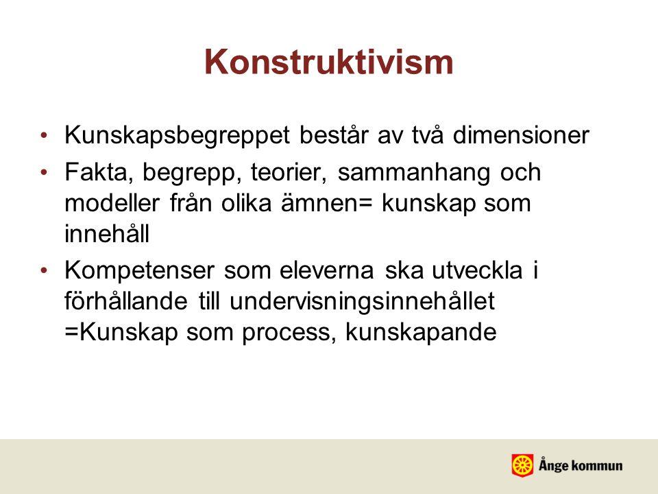 Konstruktivism Kunskapsbegreppet består av två dimensioner Fakta, begrepp, teorier, sammanhang och modeller från olika ämnen= kunskap som innehåll Kom