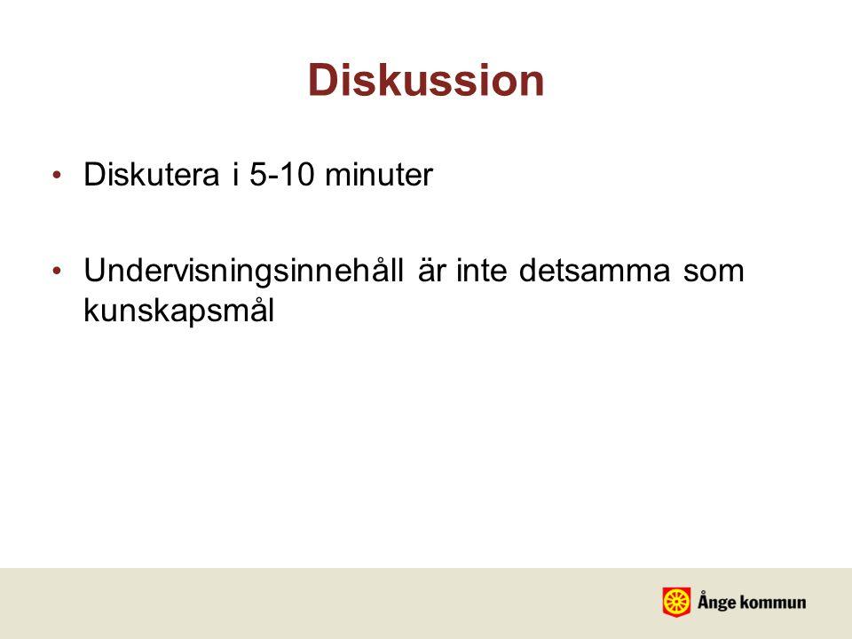 Diskussion Diskutera i 5-10 minuter Undervisningsinnehåll är inte detsamma som kunskapsmål