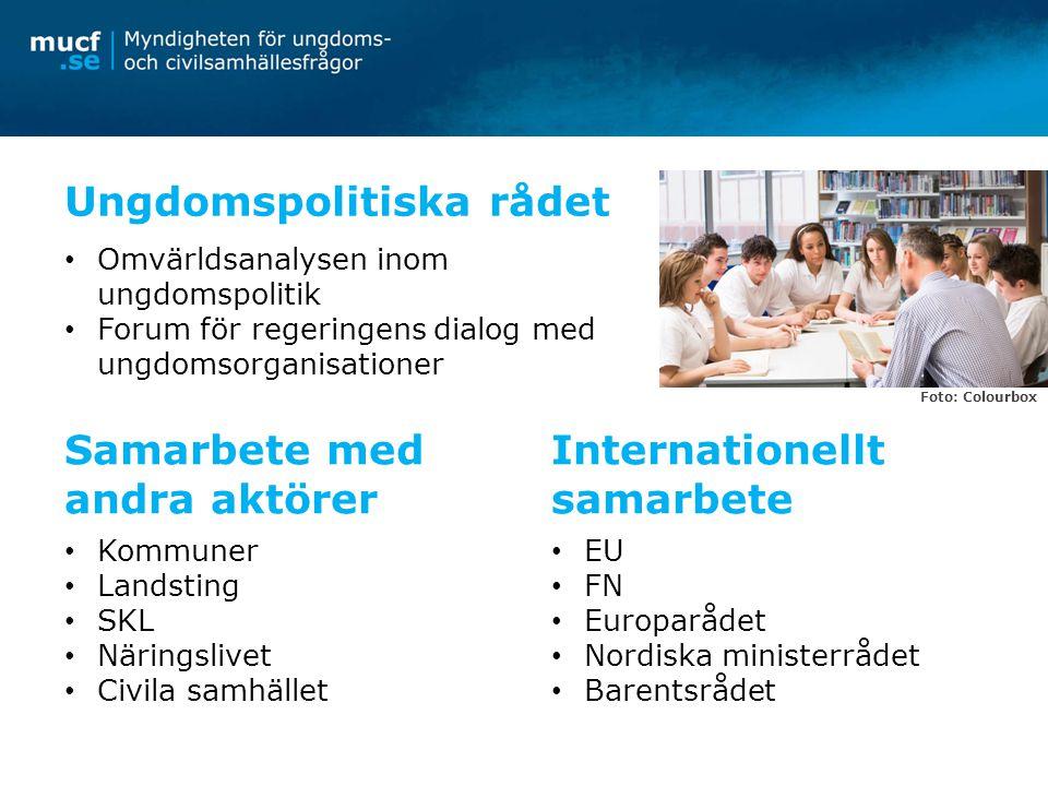 Ungdomspolitiska rådet Omvärldsanalysen inom ungdomspolitik Forum för regeringens dialog med ungdomsorganisationer Samarbete med andra aktörer Kommune
