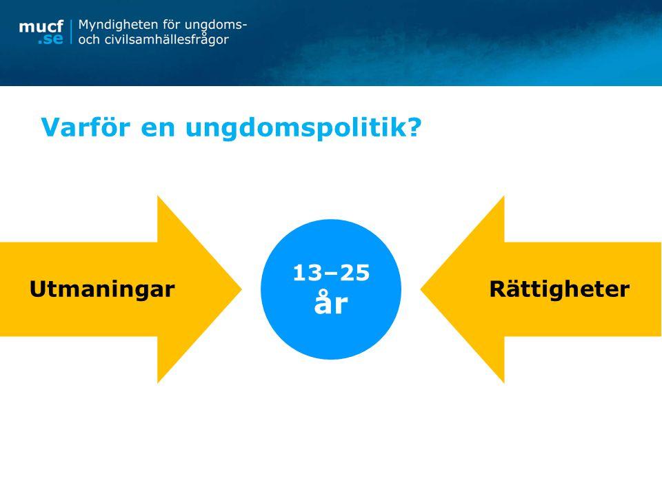 Nyheter i ungdomspolitiken Nytt ungdomspolitiskt mål Nytt ungdomsperspektiv Tre prioriterade områden: -ungas inflytande -ungas egen försörjning -ungas psykiska hälsa Tydligare koppling till EU:s ungdomsstrategi