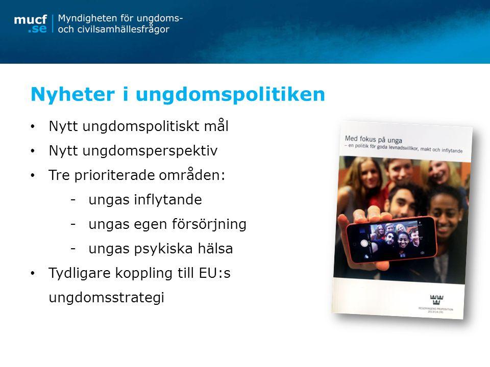 Nyheter i ungdomspolitiken Nytt ungdomspolitiskt mål Nytt ungdomsperspektiv Tre prioriterade områden: -ungas inflytande -ungas egen försörjning -ungas