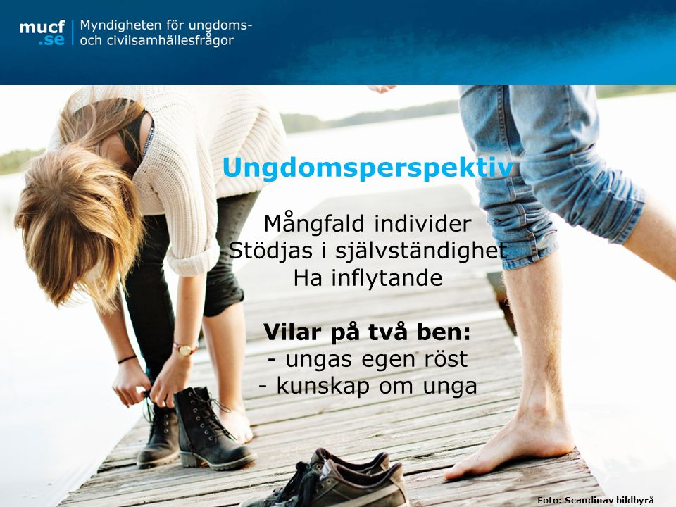 Ungdomsperspektiv Mångfald individer Stödjas i självständighet Ha inflytande Vilar på två ben: - ungas egen röst - kunskap om unga Foto: Scandinav bildbyrå