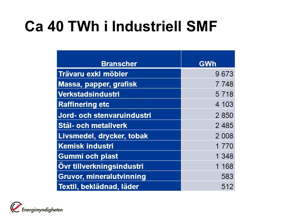 Ca 40 TWh i Industriell SMF BranscherGWh Trävaru exkl möbler9 673 Massa, papper, grafisk7 748 Verkstadsindustri5 718 Raffinering etc4 103 Jord- och st