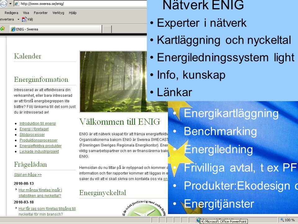 Nätverk ENIG Experter i nätverk Kartläggning och nyckeltal Energiledningssystem light Info, kunskap Länkar Energikartläggning Benchmarking Energiledni