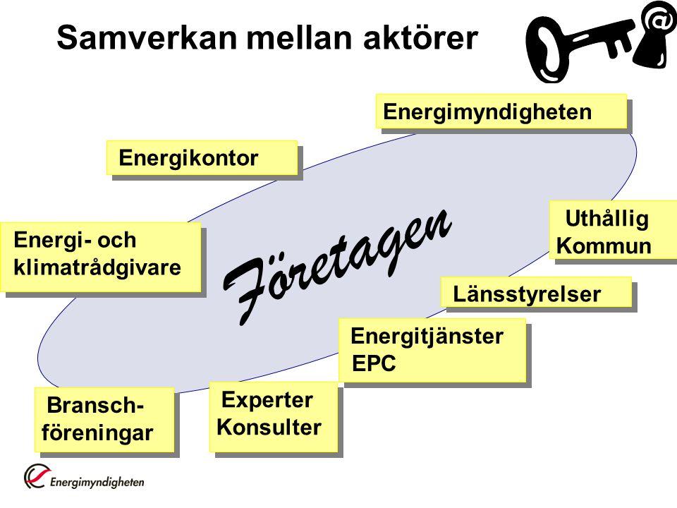 Företagen Energitjänster EPC Uthållig Kommun Länsstyrelser Bransch- föreningar Energikontor Energi- och klimatrådgivare Energi- och klimatrådgivare En