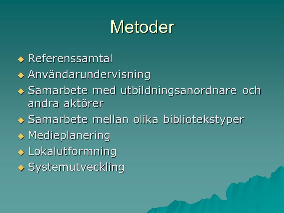 Metoder  Referenssamtal  Användarundervisning  Samarbete med utbildningsanordnare och andra aktörer  Samarbete mellan olika bibliotekstyper  Medieplanering  Lokalutformning  Systemutveckling