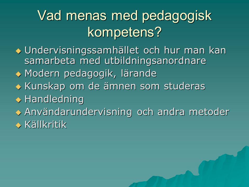 Vad menas med pedagogisk kompetens?  Undervisningssamhället och hur man kan samarbeta med utbildningsanordnare  Modern pedagogik, lärande  Kunskap