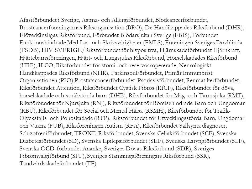 Afasiförbundet i Sverige, Astma- och Allergiförbundet, Blodcancerförbundet, Bröstcancerföreningarnas Riksorganisation (BRO), De Handikappades Riksförbund (DHR), Elöverkänsligas Riksförbund, Förbundet Blödarsjuka i Sverige (FBIS), Förbundet Funktionshindrade Med Läs- och Skrivsvårigheter (FMLS), Föreningen Sveriges Dövblinda (FSDB), HIV-SVERIGE/Riksförbundet för hivpositiva, Hjärnskadeförbundet Hjärnkraft, Hjärtebarnsföreningen, Hjärt- och Lungsjukas Riksförbund, Hörselskadades Riksförbund (HRF), ILCO, Riksförbundet för stomi- och reservoaropererade, Neurologiskt Handikappades Riksförbund (NHR), ParkinsonFörbundet, Primär Immunbrist Organisationen (PIO),Prostatacancerförbundet, Psoriasisförbundet, Reumatikerförbundet, Riksförbundet Attention, Riksförbundet Cystisk Fibros (RfCF), Riksförbundet för döva, hörselskadade och språkstörda barn (DHB), Riksförbundet för Mag- och Tarmsjuka (RMT), Riksförbundet för Njursjuka (RNj), Riksförbundet för Rörelsehindrade Barn och Ungdomar (RBU), Riksförbundet för Social och Mental Hälsa (RSMH), Riksförbundet för Trafik- Olycksfalls- och Polioskadade (RTP), Riksförbundet för Utvecklingsstörda Barn, Ungdomar och Vuxna (FUB), Riksföreningen Autism (RFA), Riksförbundet Sällsynta diagnoser, Schizofreniförbundet, TROKE-Riksförbundet, Svenska Celiakiförbundet (SCF), Svenska Diabetesförbundet (SD), Svenska Epilepsiförbundet (SEF), Svenska Laryngförbundet (SLF), Svenska OCD-förbundet Ananke, Sveriges Dövas Riksförbund (SDR), Sveriges Fibromyalgiförbund (SFF), Sveriges Stamningsföreningars Riksförbund (SSR), Tandvårdsskadeförbundet (TF)