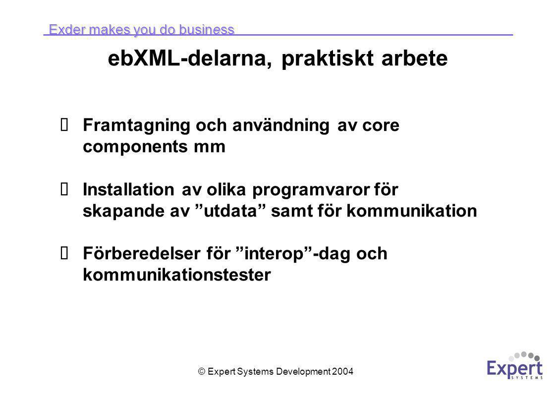 Exder makes you do business © Expert Systems Development 2004 ebXML-delarna, praktiskt arbete  Framtagning och användning av core components mm  Installation av olika programvaror för skapande av utdata samt för kommunikation  Förberedelser för interop -dag och kommunikationstester