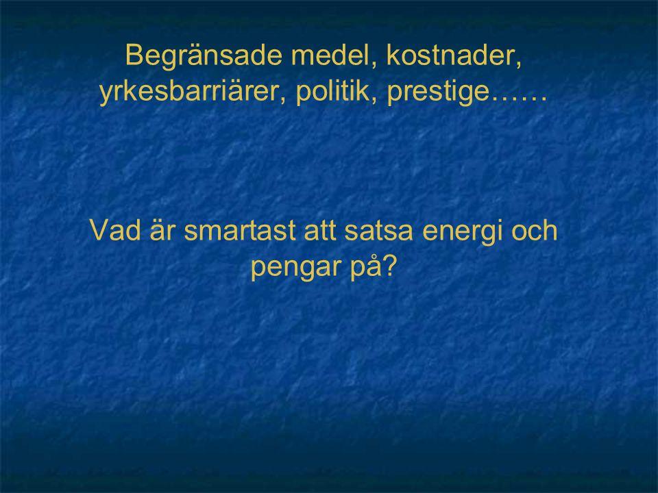 Begränsade medel, kostnader, yrkesbarriärer, politik, prestige…… Vad är smartast att satsa energi och pengar på?