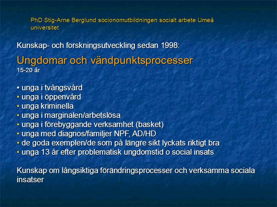 Kunskap- och forskningsutveckling sedan 1998: Ungdomar och vändpunktsprocesser 15-20 år unga i tvångsvård unga i tvångsvård unga i öppenvård unga i öppenvård unga kriminella unga kriminella unga i marginalen/arbetslösa unga i marginalen/arbetslösa unga i förebyggande verksamhet (basket) unga i förebyggande verksamhet (basket) unga med diagnos/familjer NPF, AD/HD unga med diagnos/familjer NPF, AD/HD de goda exemplen/de som på längre sikt lyckats riktigt bra de goda exemplen/de som på längre sikt lyckats riktigt bra unga 13 år efter problematisk ungdomstid o social insats unga 13 år efter problematisk ungdomstid o social insats Kunskap om långsiktiga förändringsprocesser och verksamma sociala insatser PhD Stig-Arne Berglund socionomutbildningen socialt arbete Umeå universitet