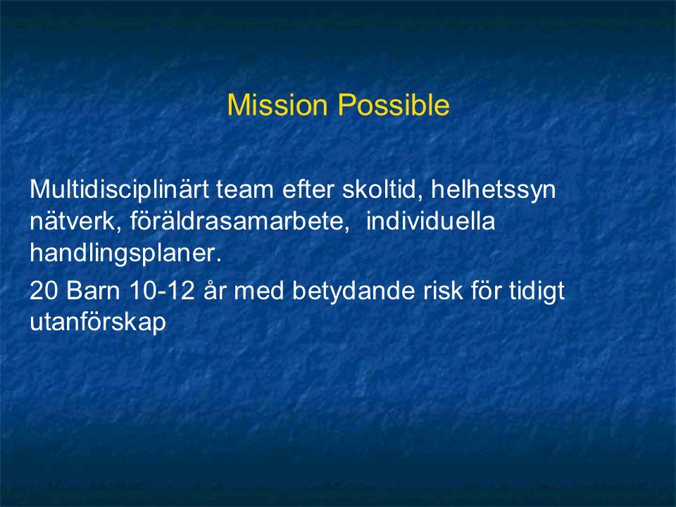 Mission Possible Multidisciplinärt team efter skoltid, helhetssyn nätverk, föräldrasamarbete, individuella handlingsplaner.