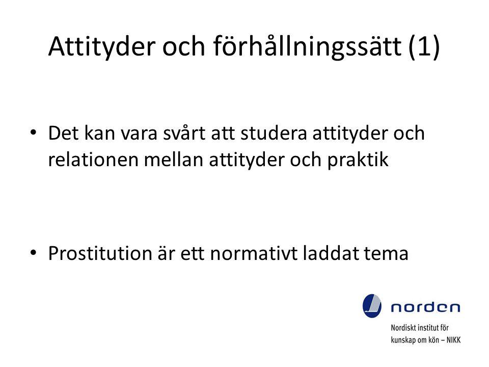 Attityder och förhållningssätt (1) Det kan vara svårt att studera attityder och relationen mellan attityder och praktik Prostitution är ett normativt laddat tema