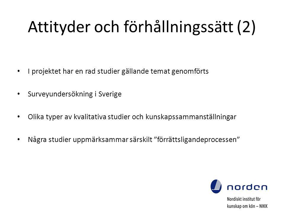 Attityder och förhållningssätt (2) I projektet har en rad studier gällande temat genomförts Surveyundersökning i Sverige Olika typer av kvalitativa studier och kunskapssammanställningar Några studier uppmärksammar särskilt förrättsligandeprocessen