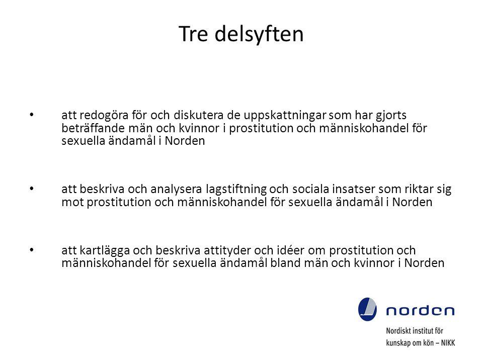 Tre delsyften att redogöra för och diskutera de uppskattningar som har gjorts beträffande män och kvinnor i prostitution och människohandel för sexuella ändamål i Norden att beskriva och analysera lagstiftning och sociala insatser som riktar sig mot prostitution och människohandel för sexuella ändamål i Norden att kartlägga och beskriva attityder och idéer om prostitution och människohandel för sexuella ändamål bland män och kvinnor i Norden
