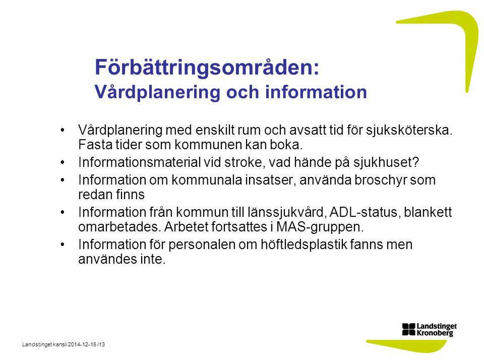Landstinget kansli 2014-12-16 /13 Förbättringsområden: Vårdplanering och information Vårdplanering med enskilt rum och avsatt tid för sjuksköterska.