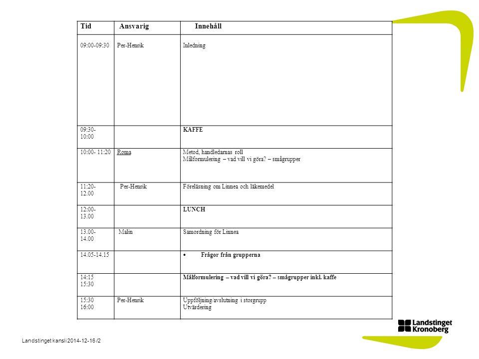 Landstinget kansli 2014-12-16 /2 Tid AnsvarigInnehåll 09:00-09:30 Per-Henrik Inledning 09:30- 10:00 KAFFE 10:00- 11:20RomaMetod, handledarnas roll Målformulering – vad vill vi göra.