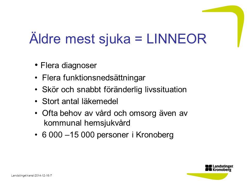 Landstinget kansli 2014-12-16 /7 Äldre mest sjuka = LINNEOR Flera diagnoser Flera funktionsnedsättningar Skör och snabbt föränderlig livssituation Stort antal läkemedel Ofta behov av vård och omsorg även av kommunal hemsjukvård 6 000 –15 000 personer i Kronoberg