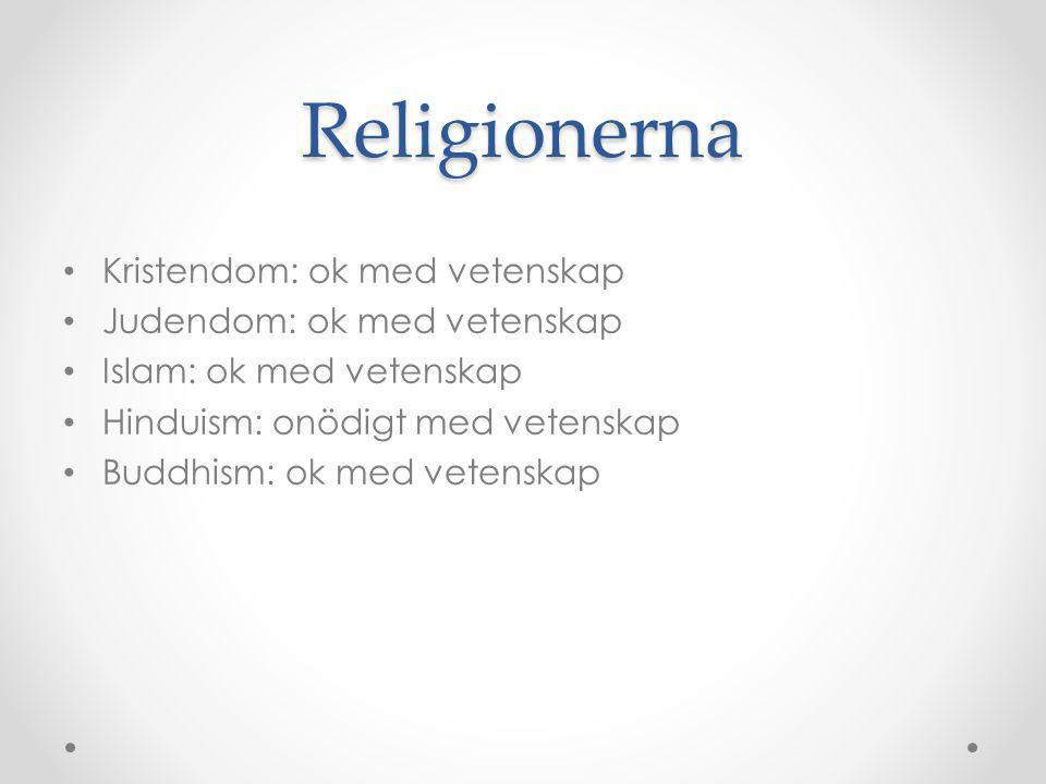Religionerna Kristendom: ok med vetenskap Judendom: ok med vetenskap Islam: ok med vetenskap Hinduism: onödigt med vetenskap Buddhism: ok med vetenska