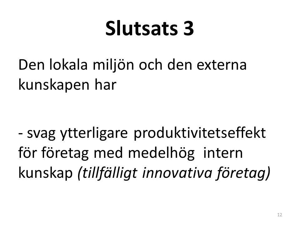 Slutsats 3 Den lokala miljön och den externa kunskapen har - svag ytterligare produktivitetseffekt för företag med medelhög intern kunskap (tillfälligt innovativa företag) 12