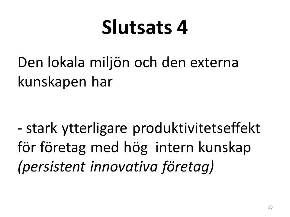 Slutsats 4 Den lokala miljön och den externa kunskapen har - stark ytterligare produktivitetseffekt för företag med hög intern kunskap (persistent innovativa företag) 13